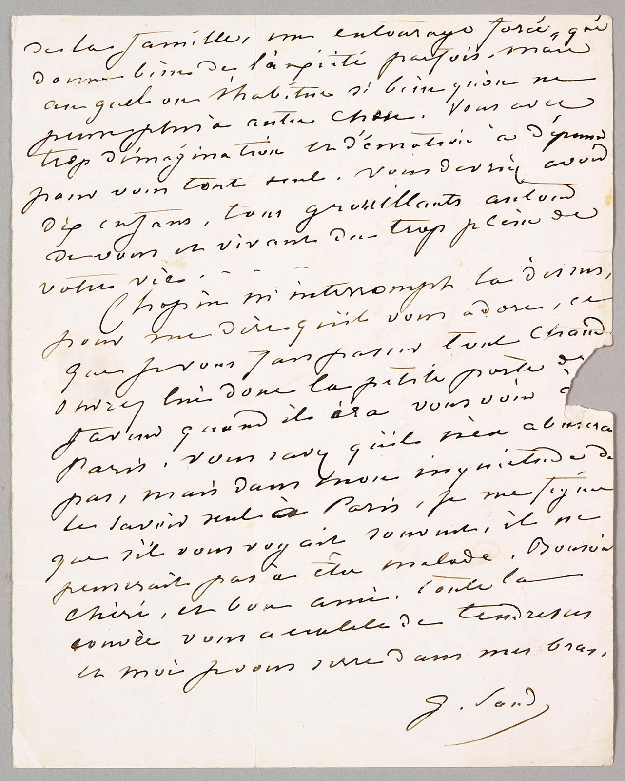 Letter from George Sand to Eugène Delacroix,